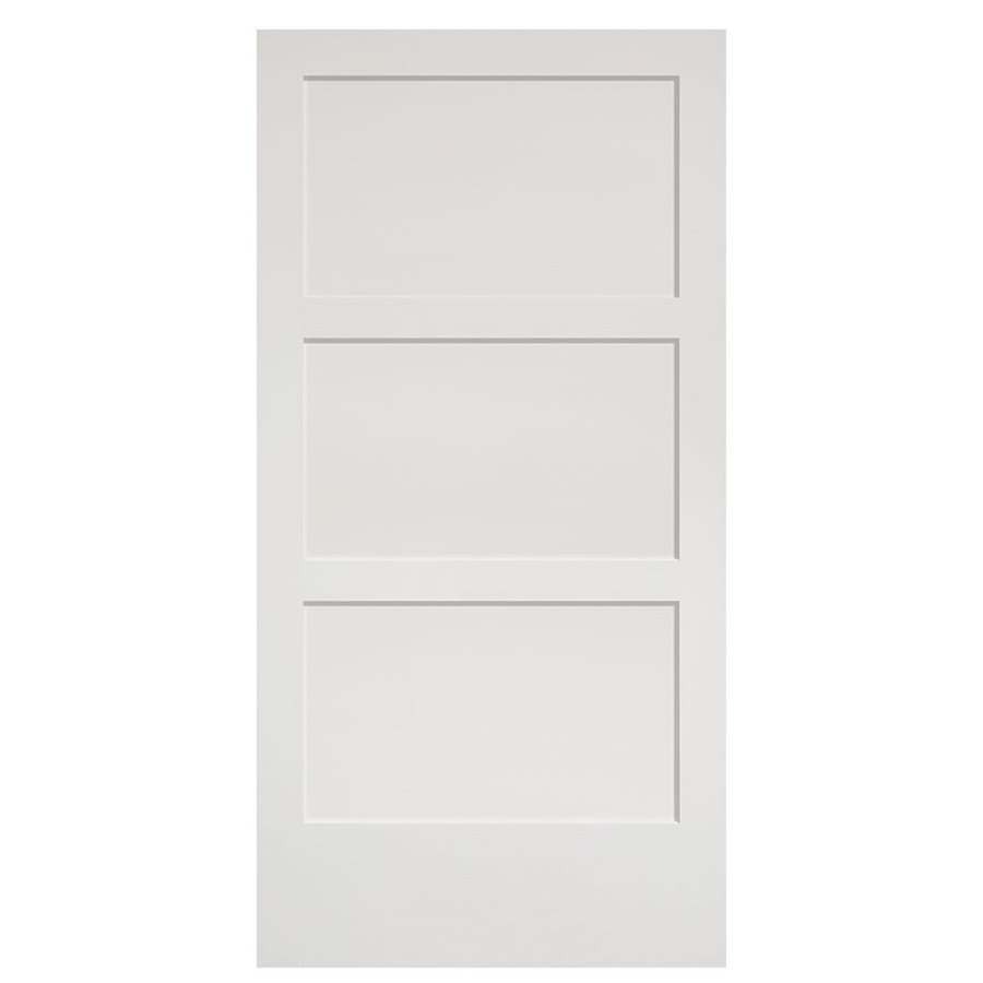 Masonite 36 In X 84 In Primed 3 Lite Equal Solid Wood: Masonite Primed 3-Panel MDF Barn Door (Common: 42-in X 84
