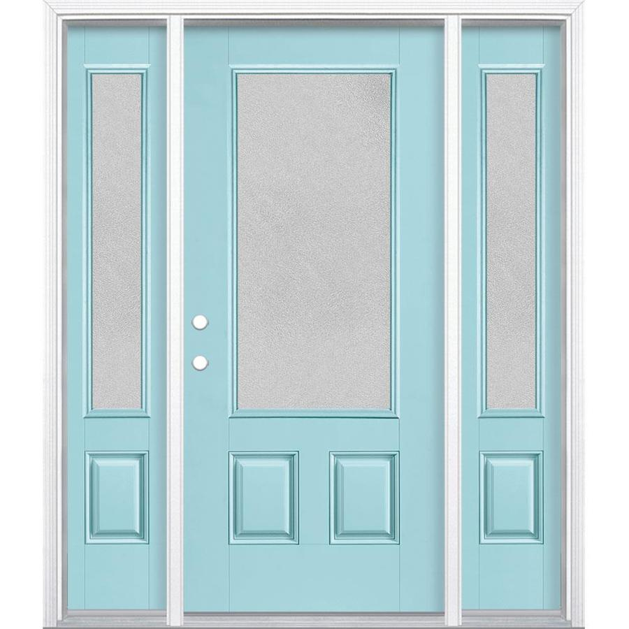 Masonite Microgranite Textured Glass Right Hand Inswing Caribbean Blue  Painted Fiberglass Prehung Entry Door With