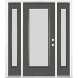 Masonite Blanca Full Lite Privacy Gl Left Hand Inswing Timber Gray Painted Fibergl Prehung Entry