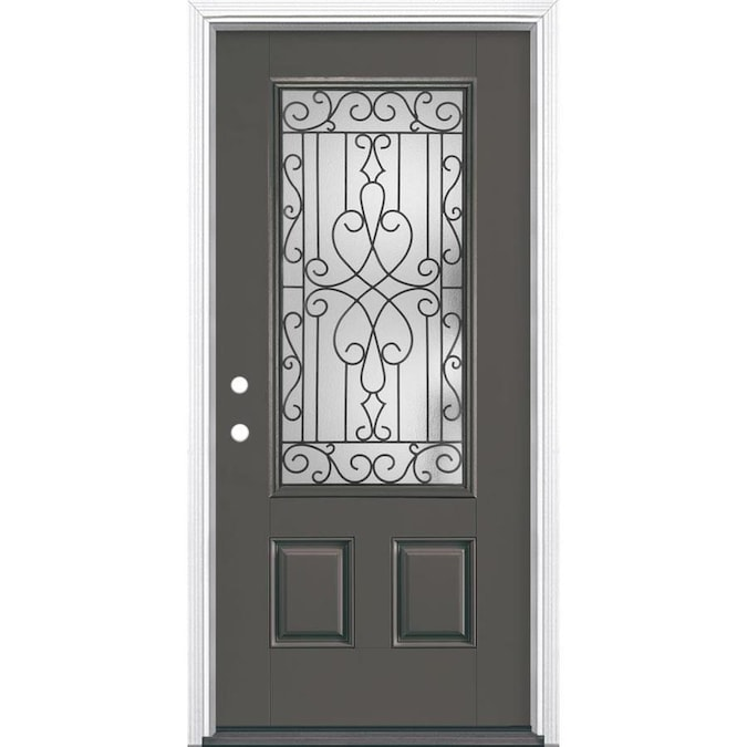 Masonite Wyngate 36 In X 80 In Fiberglass 3 4 Lite Right Hand Inswing Timber Gray Painted Prehung Single Front Door Brickmould Included In The Front Doors Department At Lowes Com Save big on exterior doors & hardware at menards®! masonite wyngate 36 in x 80 in fiberglass 3 4 lite right hand inswing timber gray painted prehung single front door brickmould included