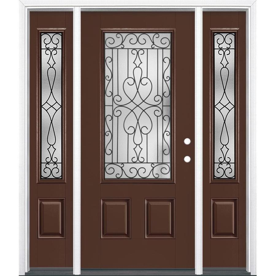 Masonite Wyngate 64 In X 80 In Fiberglass 3 4 Lite Left Hand Inswing Chocolate Painted Prehung Single Front Door Brickmould Included In The Front Doors Department At Lowes Com Lowes marietta oh exterior install page windows roofing siding fencing generator hvac furnace ac free in. lowe s