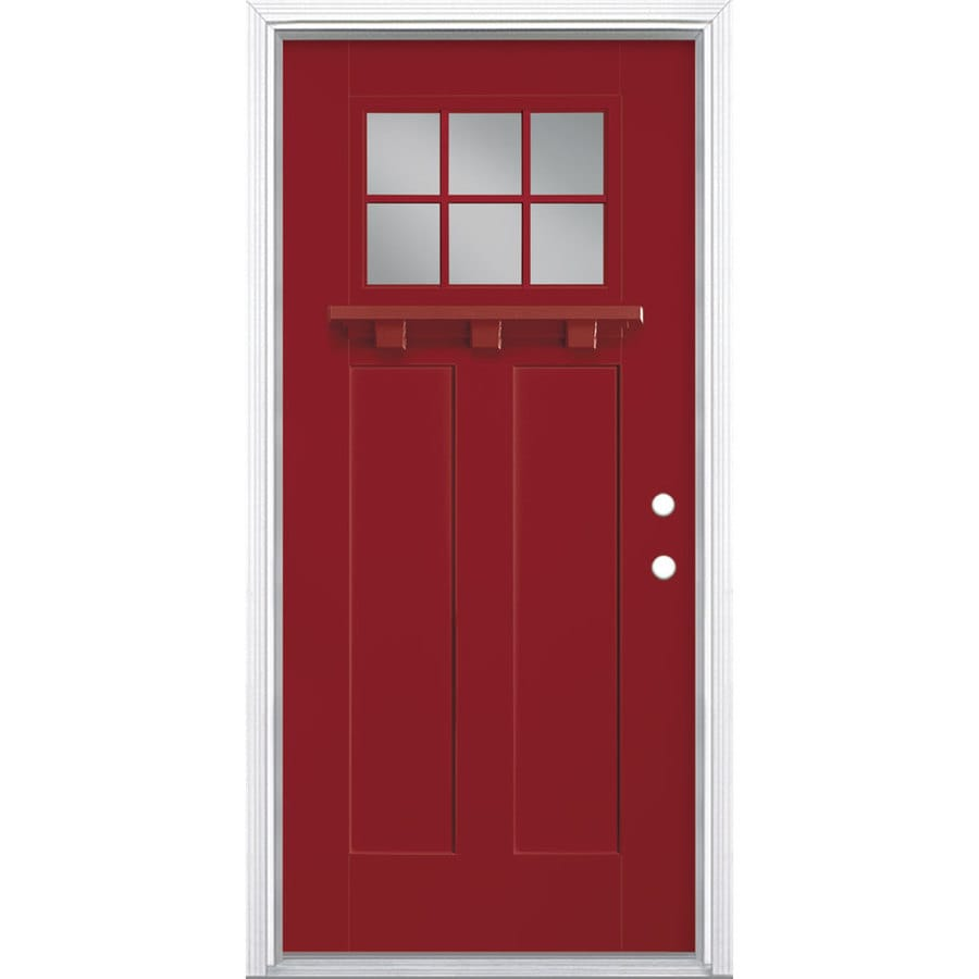 Masonite Craftsman Clear Glass Left Hand Inswing Roma Red