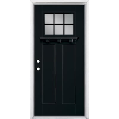 Masonite 36 In X 80 In Fiberglass Craftsman Right Hand Inswing Peppercorn Painted Prehung Single Front Door With Brickmould In The Front Doors Department At Lowes Com