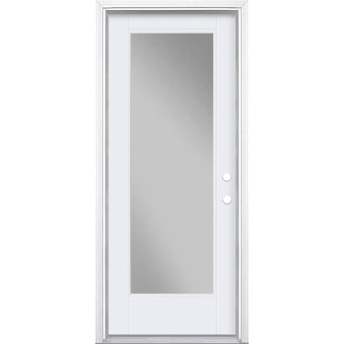 Masonite 32 In X 80 In Fiberglass Full Lite Left Hand Inswing Primed Prehung Single Front Door Brickmould Included In The Front Doors Department At Lowes Com To enhance them, we offer luxurious woodgrain finishes and paint colors, sparkling glass options, and charming hardware options to support any design preference and. masonite 32 in x 80 in fiberglass full lite left hand inswing primed prehung single front door brickmould included