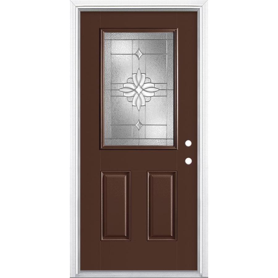 Masonite Laurel Decorative Glass Chocolate Fiberglass Painted Entry Door  (Common: 36.0x 80.0;