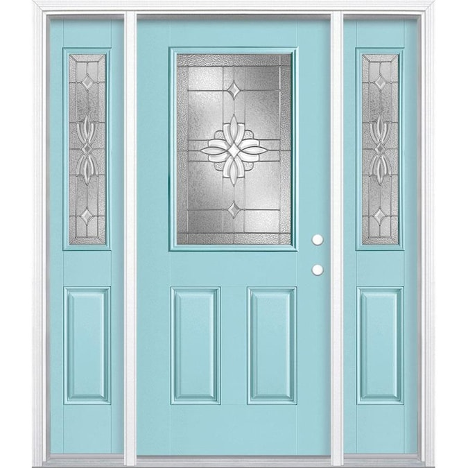 Masonite Laurel 64 In X 80 In Fiberglass Half Lite Left Hand Inswing Caribbean Blue Painted Prehung Single Front Door Brickmould Included In The Front Doors Department At Lowes Com Moreover, they hold several advantages in terms of endurance, durability, maintenance, customization, and appearance. masonite laurel 64 in x 80 in