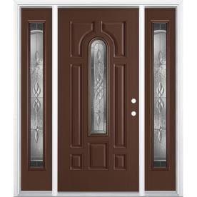 Superbe Masonite Hampton Center Arch Lite Decorative Glass Left Hand Inswing  Chocolate Painted Fiberglass Pre