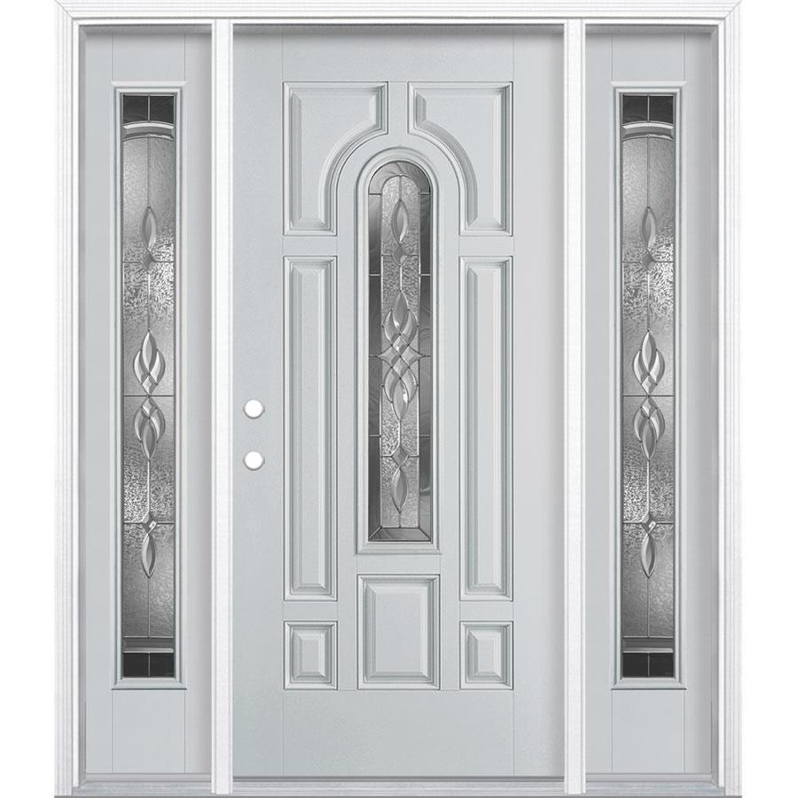 Masonite H&ton Center Arch Lite Decorative Glass Right-Hand Inswing Infinity Gray Painted Fiberglass Pre  sc 1 st  Lowe\u0027s : infinity door - pezcame.com