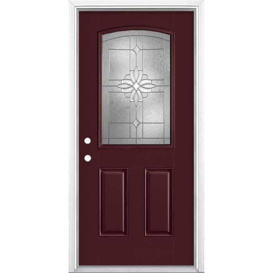 Masonite Laurel Half Lite Decorative Gl Right Hand Inswing Currant Painted Fibergl Prehung Entry Door With Insulating Core Common 36 In X 80