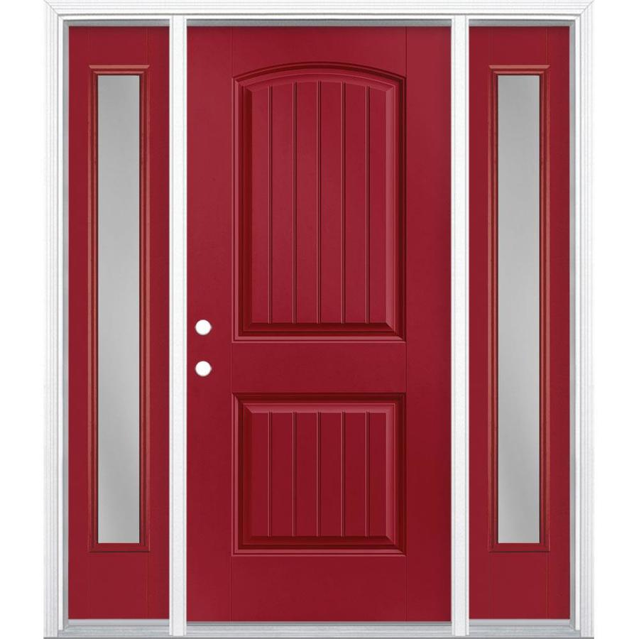 Masonite Clear Glass Right Hand Inswing Roma Red Painted