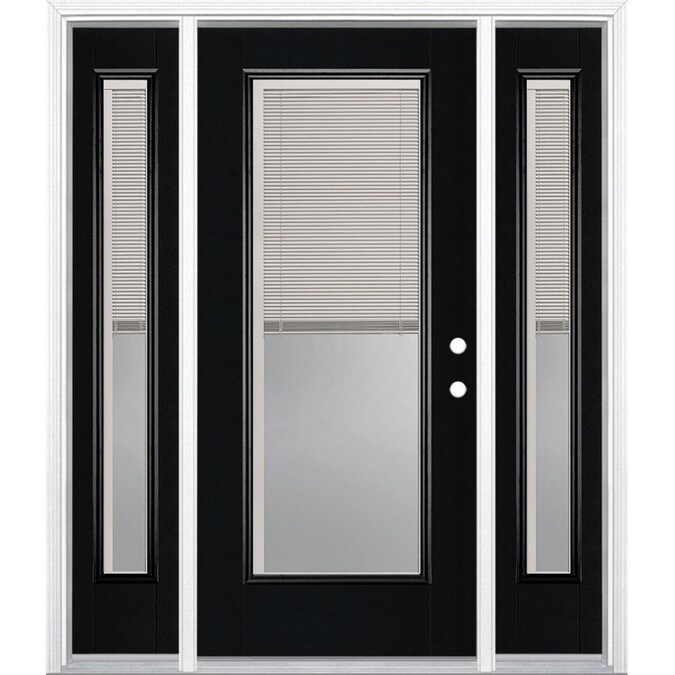 Masonite 60 In X 80 In Fiberglass Full Lite Left Hand Inswing Peppercorn Painted Prehung Single Front Door Brickmould Included With Blinds In The Front Doors Department At Lowes Com Knotty alder 10 lite with lowe ig door. masonite 60 in x 80 in fiberglass full