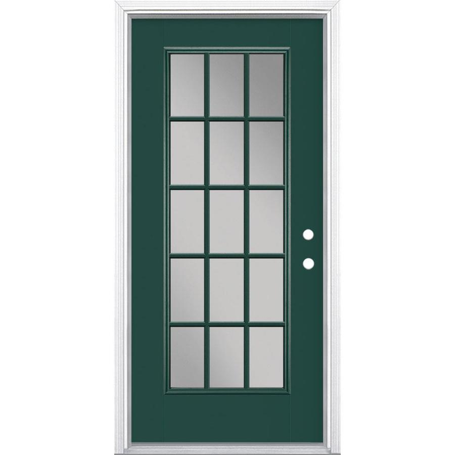 Masonite Full Lite External Grille Left Hand Inswing Evergreen Painted  Fiberglass Prehung Entry Door With Insulating Core (Common: 36 In X 80 In;  ...