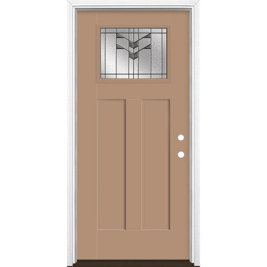 Masonite Frontier 36 In X 80 In Fiberglass Craftsman Left Hand Inswing Warm Wheat Painted Prehung Single Front Door With Brickmould In The Front Doors Department At Lowes Com