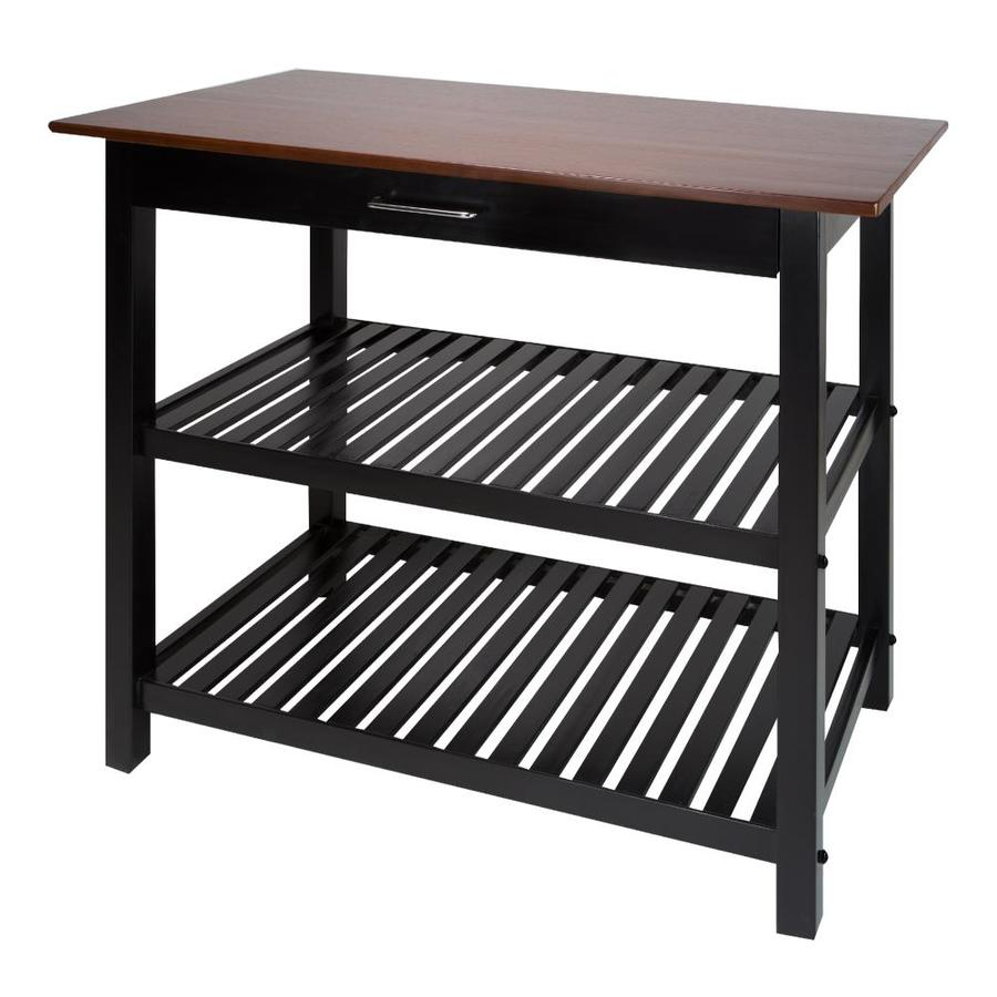 Casual Home Black Wood Base With Wood Top Kitchen Island 20 In X 40 In X 36 5 In In The Kitchen Islands Carts Department At Lowes Com