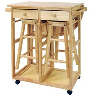 Casual Home Brown Wood Base with Wood Top Kitchen Cart Deals