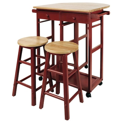 Casual Home Red Scandinavian Kitchen Cart at Lowes.com
