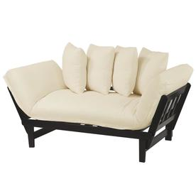 Casual Home Lounger Sofa Bed Espresso Frame With Ivory Fabric