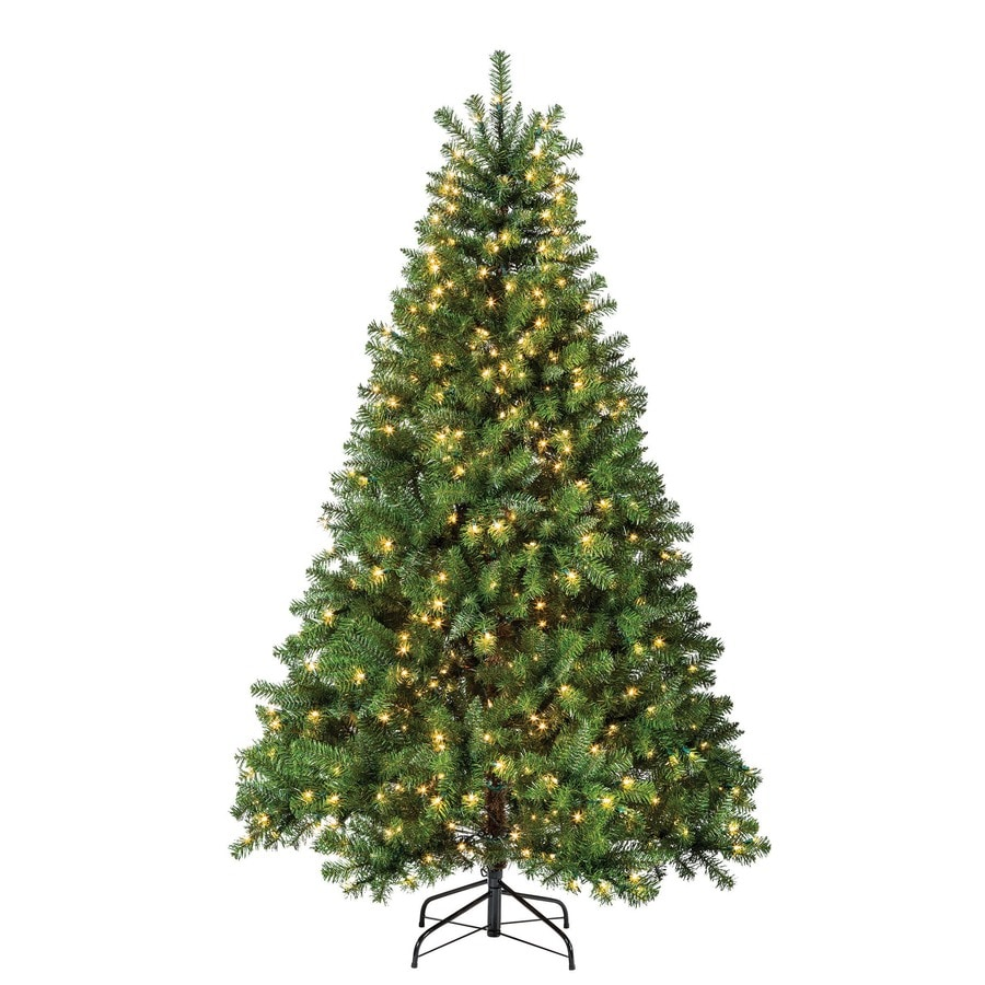 Shop Holiday Living 6.5-ft Pre-Lit Pine Artificial Christmas Tree with White Incandescent Lights ...