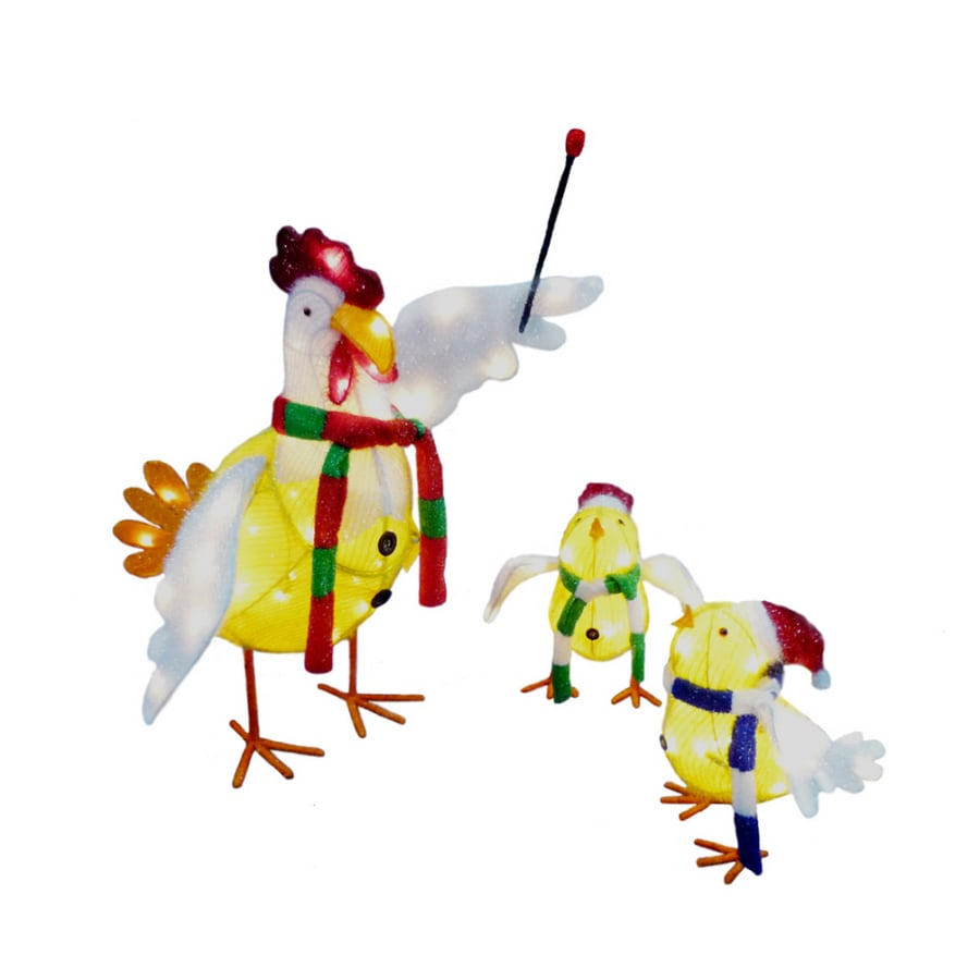 holiday living 3 piece tinsel chicken outdoor holiday decoration - Outdoor Tinsel Christmas Decorations