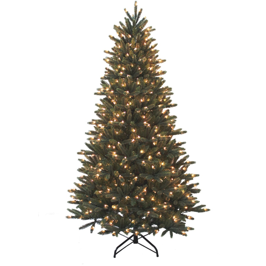 String Christmas Tree Lights Artificial Tree : Shop Holiday Living 7-ft Pine Pre-Lit Artificial Christmas Tree with 550-Count Clear Lights at ...