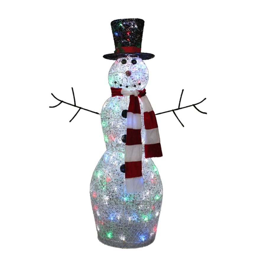 holiday living pre lit snowman sculpture with twinkling multicolor led lights