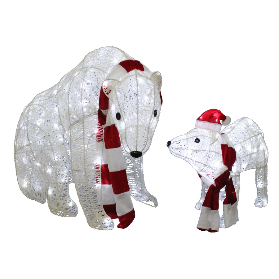 holiday living pre lit polar bear sculpture with twinkling cool led lights - Pre Lit Polar Bear Christmas Decoration Set Of 3