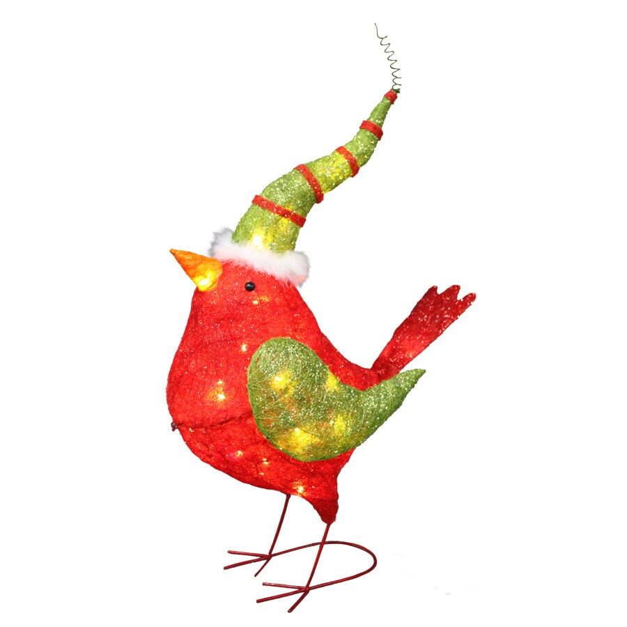 Shop holiday living pre lit cardinal sculpture with for Outdoor light up ornaments