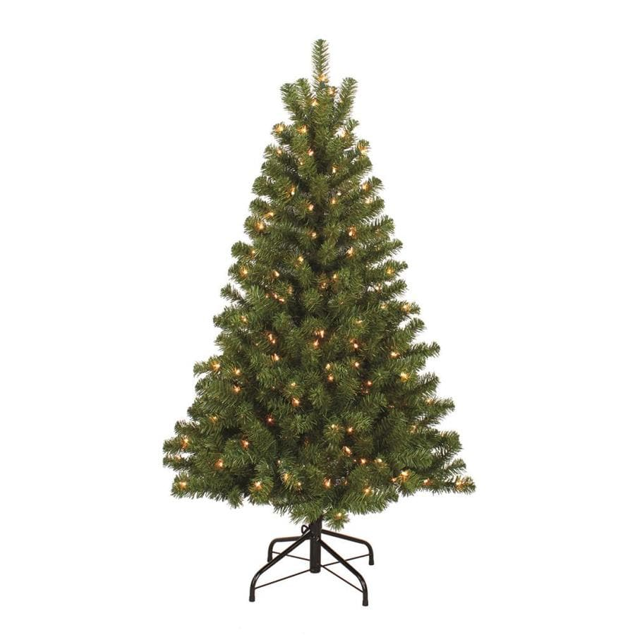 Holiday Living 4.5-ft Pre-Lit Bristen Pine Artificial Christmas Tree White with Clear Incandescent Lights
