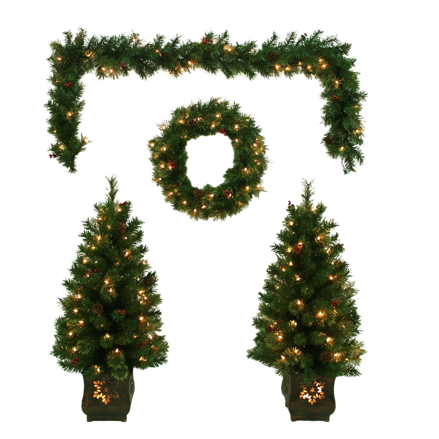 holiday living prelit front door decoration kit with constant clear white lights - Prelit Christmas Tree