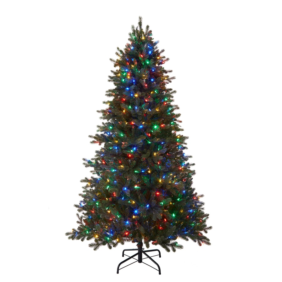 Holiday Living 7.5-ft 2,974-Count Pre-Lit Mansfield Artificial Christmas Tree with Multi-Function 600 with Color Changing LED Lights