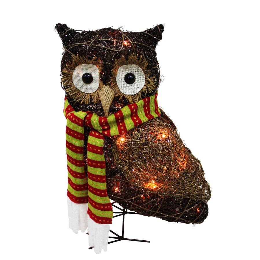 Holiday Living Pre-Lit Owl Sculpture with Constant Clear White Incandescent Lights