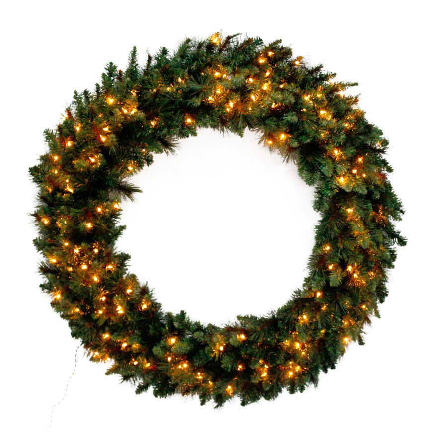 Holiday Living 48-in Pre-lit Indoor/Outdoor Electrical Outlet Green Scottsdale Pine Artificial Christmas Wreath with White Clear Incandescent