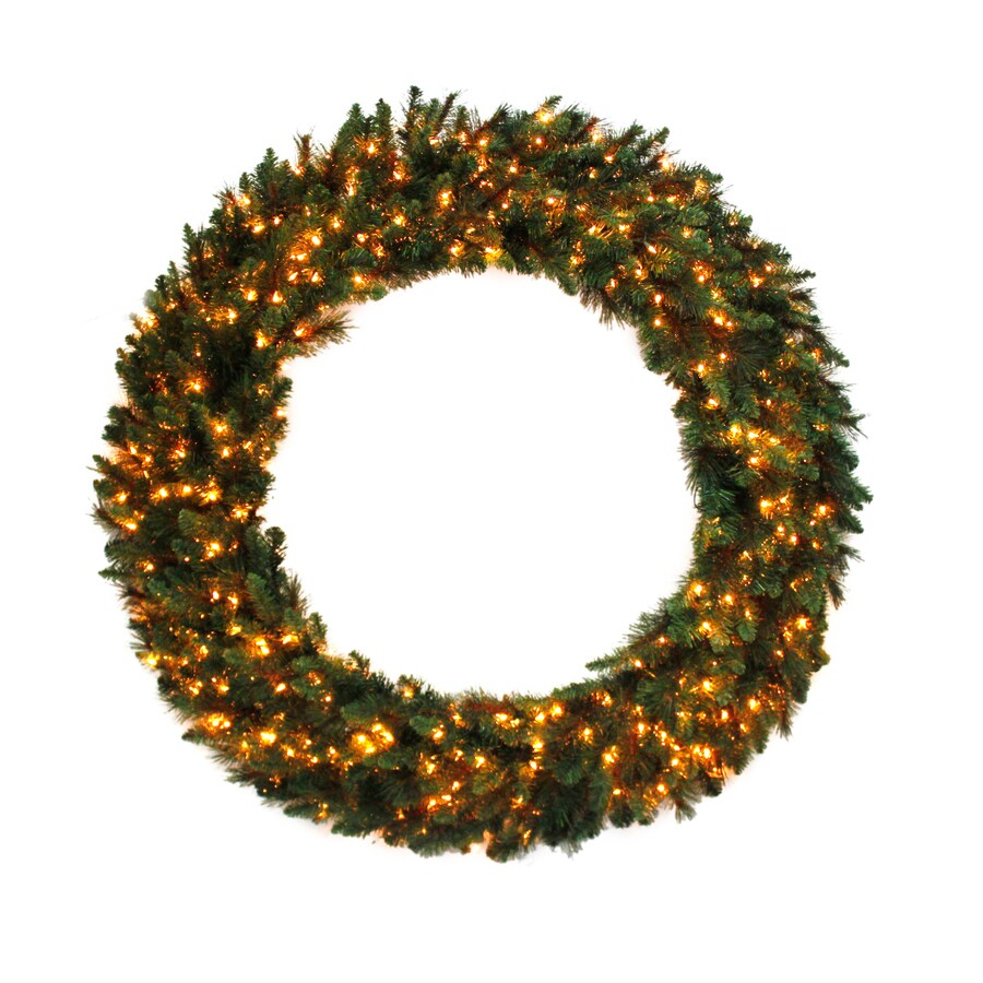Holiday Living 60-in Pre-lit Indoor/Outdoor Electrical Outlet Green Scottsdale Pine Artificial Christmas Wreath with White Clear Incandescent