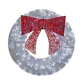 holiday living 36 in pre lit cool white sequin artificial christmas wreath with multicolor