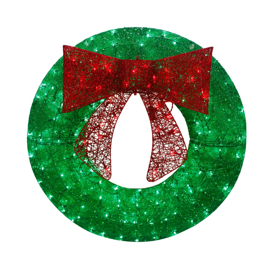 holiday living 36 in pre lit green sequin artificial christmas wreath with multicolor led - How To Decorate Artificial Christmas Wreath