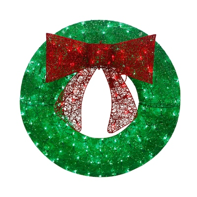 Holiday Living 36 In Pre Lit Outdoor Green Sequin Artificial Christmas Wreath With Multicolor Led Lights by Lowe's
