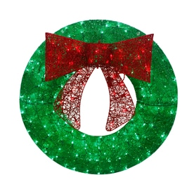 holiday living 36 in pre lit green sequin artificial christmas wreath with multicolor led - Artificial Christmas Wreaths Decorated