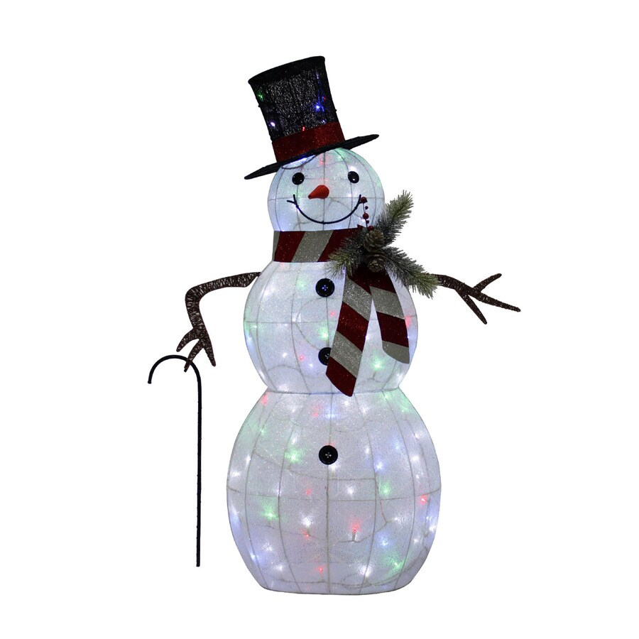 Holiday Living 4-ft Freestanding Snowman Sculpture with Twinkling Multicolor LED Lights
