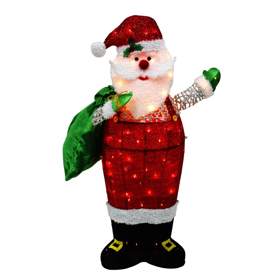 Holiday Living 4-ft Freestanding Santa Sculpture with Constant White Incandescent Lights