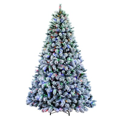 Living Christmas Tree.7 5 Ft Pre Lit Albany Pine Flocked Artificial Christmas Tree With 600 Multi Function Color Changing Led Lights