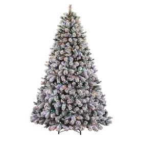holiday living 75 ft pre lit albany pine flocked artificial christmas tree with 600 - Pre Lit Decorated Christmas Trees