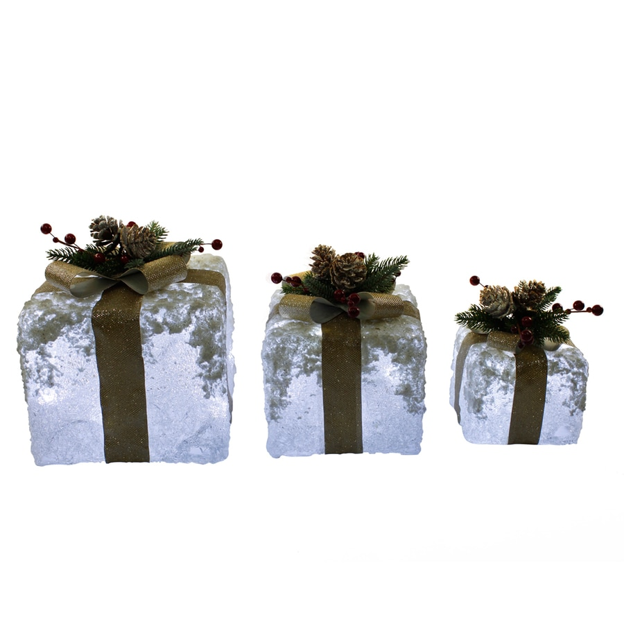 Holiday Living 10 In Gift Box Sculpture With White Led