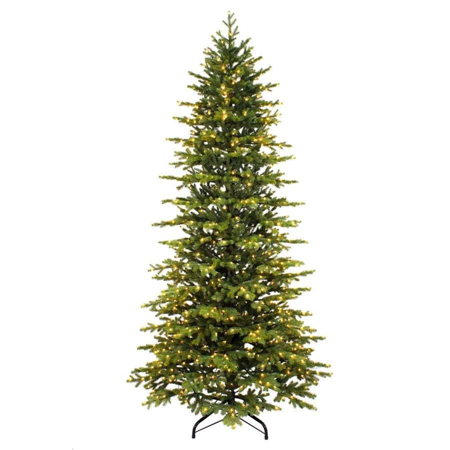 Pre Lit Led Lights Christmas Tree: 7.5-ft Pre-lit Slim Artificial Christmas Tree With 800