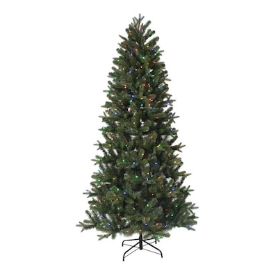 7.5-ft Pre-Lit Greenville Fir Slim Artificial Christmas Tree with 350 Color  Changing LED Lights