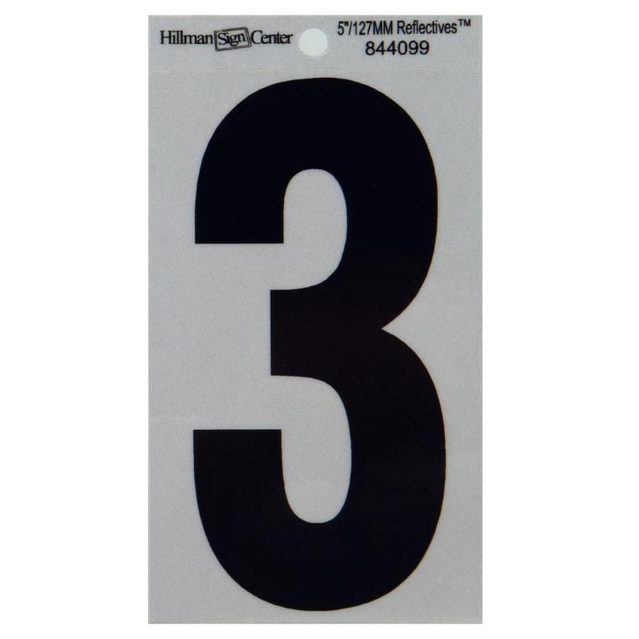The Hillman Group 5-in Reflective Black House Number 3