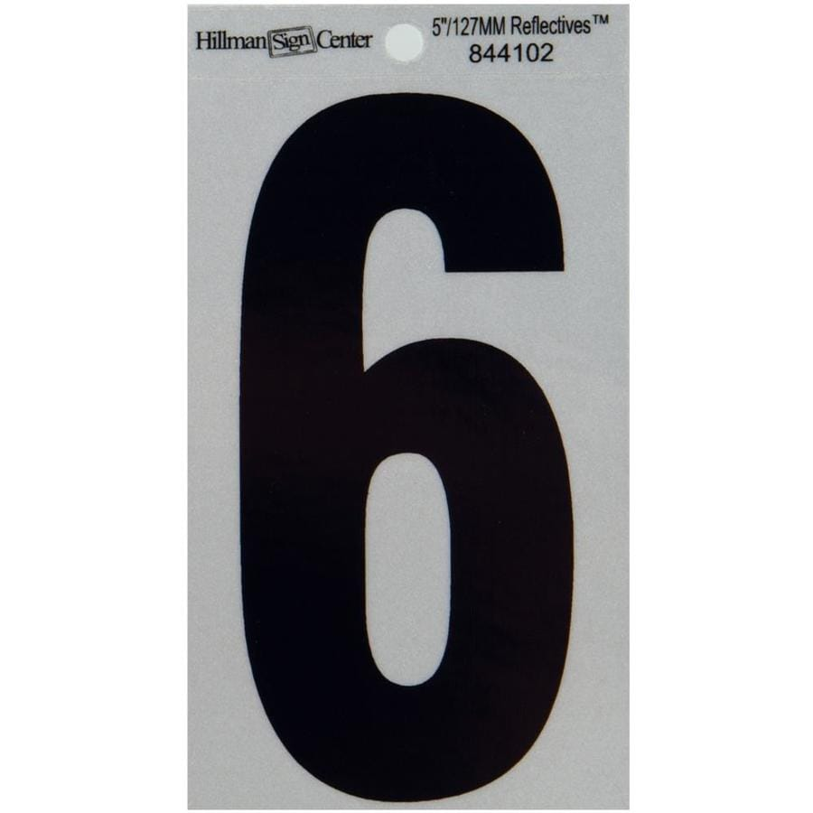 Hillman 5-in Reflective Black House Number 6