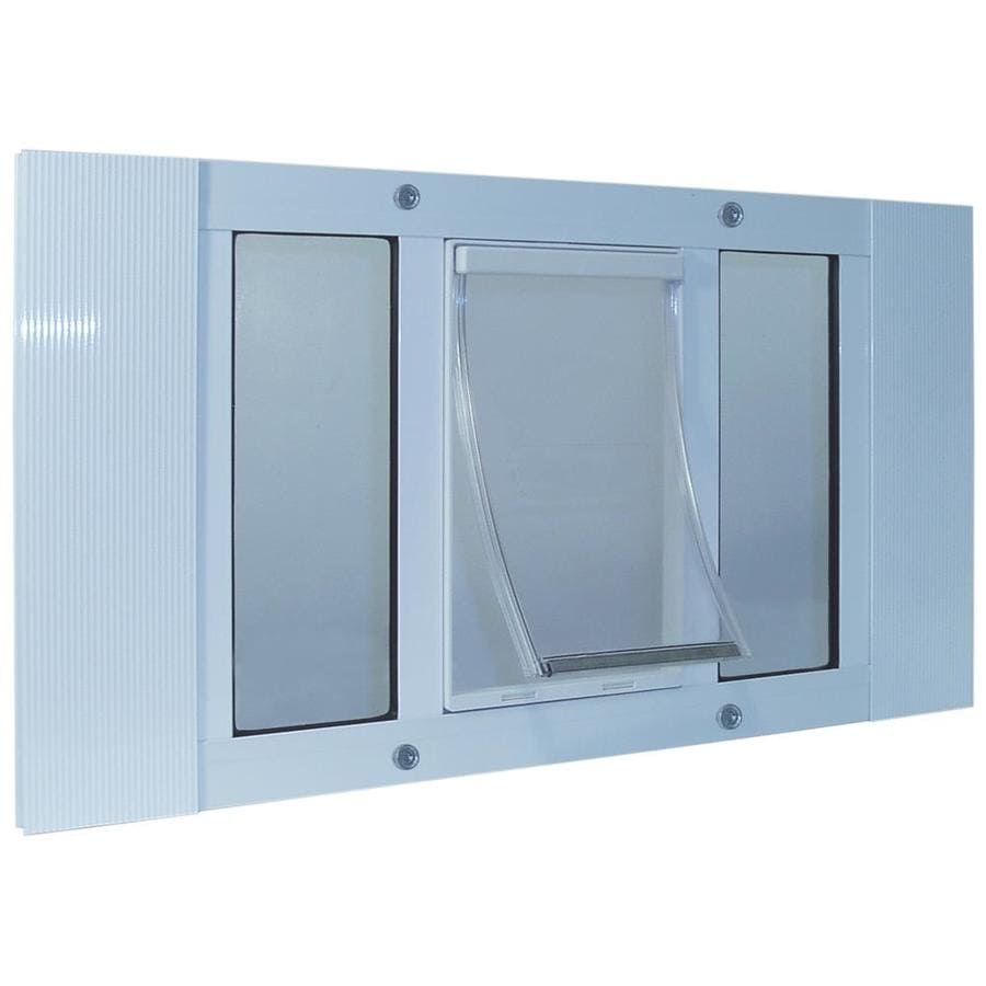 Ideal Pet Products Aluminum Sash Window Medium White Aluminum Window Pet Door (Actual: 11.25-in x 7-in)