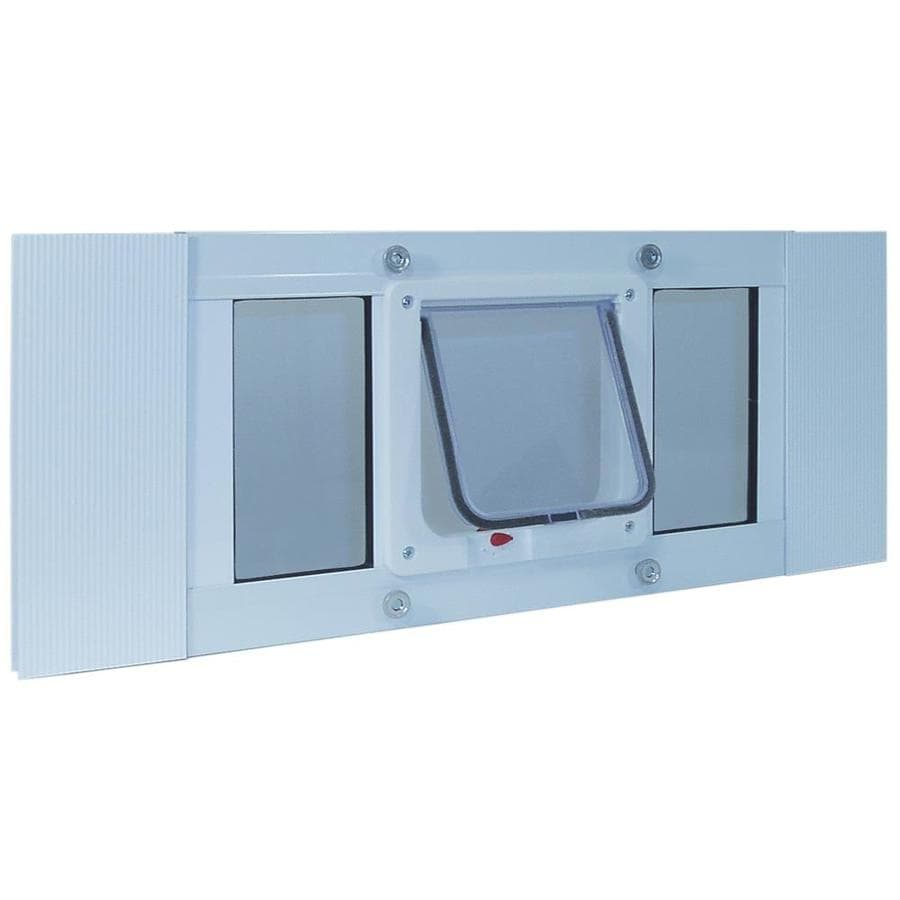 Ideal Pet Products Aluminum Sash Window Cat Flap Small White Aluminum Window Pet Door (Actual: 6.25-in x 6.25-in)