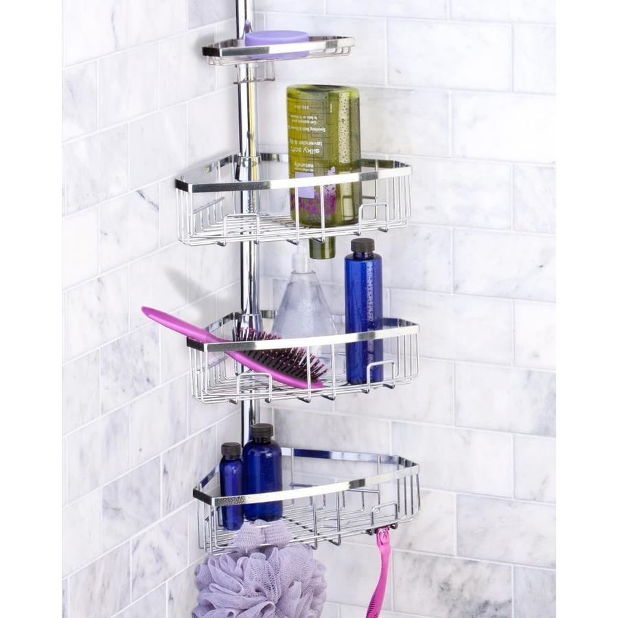 Shop 102.0-in H Steel Chrome Tension Pole Freestanding Shower Caddy ...
