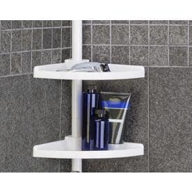 108.0 In H Plastic White Tension Pole Freestanding Shower Caddy